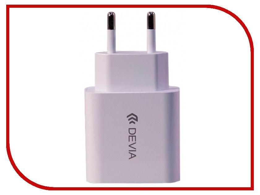 Зарядное устройство Devia Smart Fast Charger 10.5W 2.1A White 22310 зарядное устройство devia hammer dual usb car fast qc 3 0 charger 3a silver 19266
