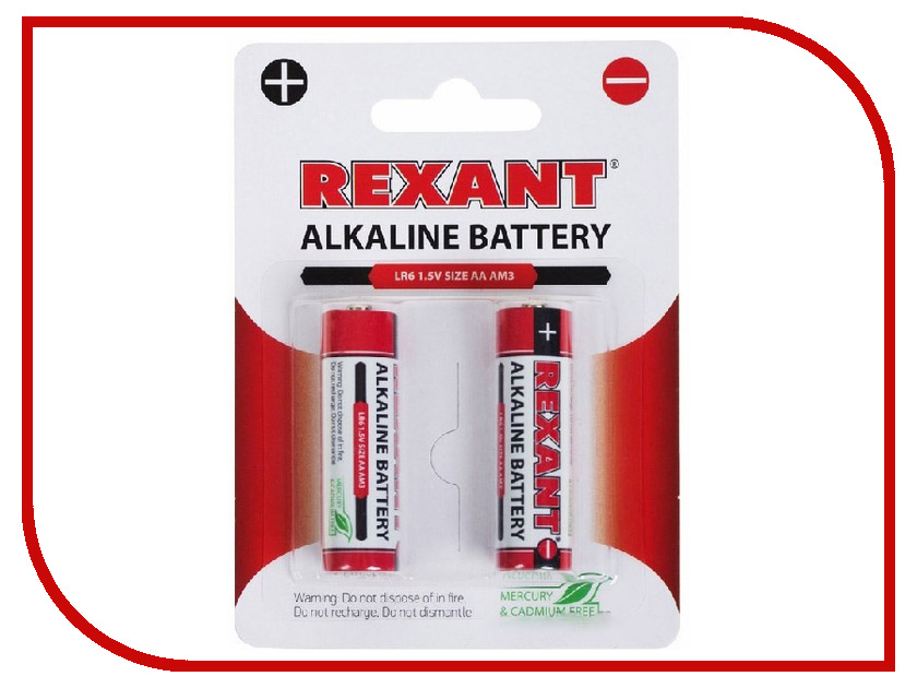 Батарейка AA - Rexant LR6 1.5V 2700mAh 2шт 30-1050 аккумулятор aaa rexant 1 2v 1100mah 2шт 30 1411