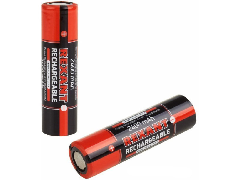 Аккумулятор Rexant 18650 Li-ion 2400mAH 3.7В без защиты 2шт 30-2010-05