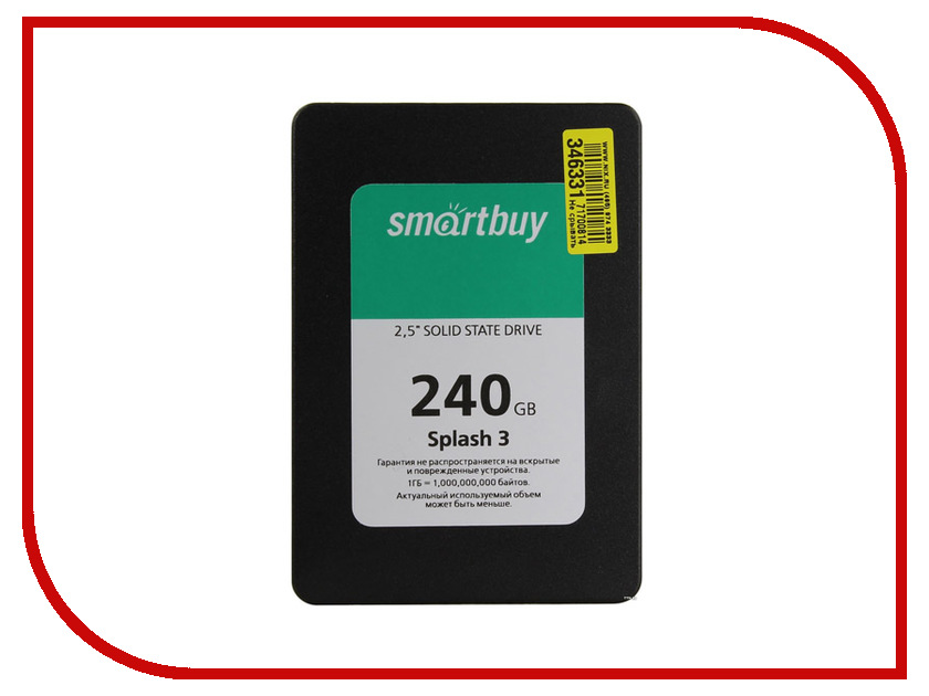 Жесткий диск SmartBuy Splash 3 240 GB (SB240GB-SPLH3-25SAT3) жесткий диск 480gb smartbuy revival 3 sb480gb rvvl3 25sat3
