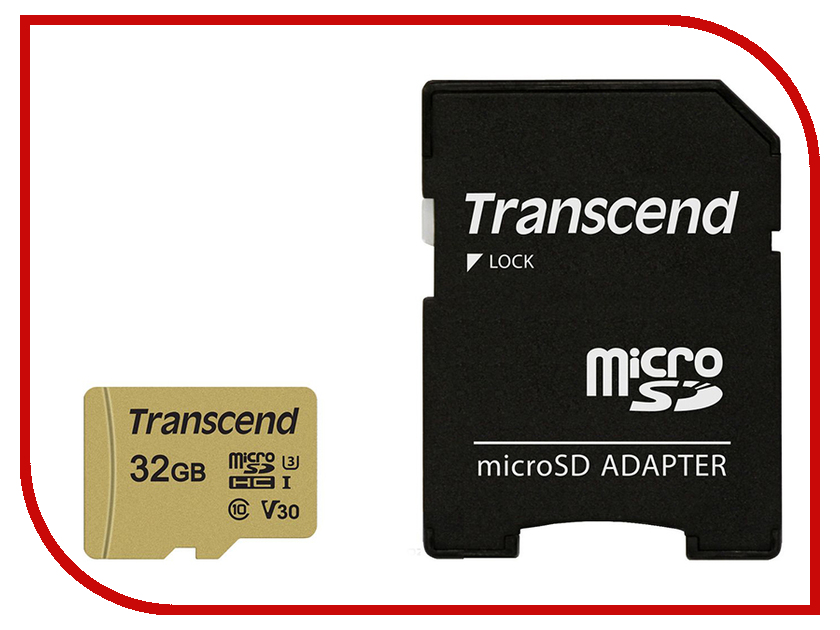 Карта памяти 32Gb - Transcend - Micro Secure Digital HC UHS-I U3 Class 10 TS32GUSD500S с переходником под SD toshiba flashair w 04 memory card wireless lan 64gb 32gb 16gb wi fi sd u3 uhs speed class 3