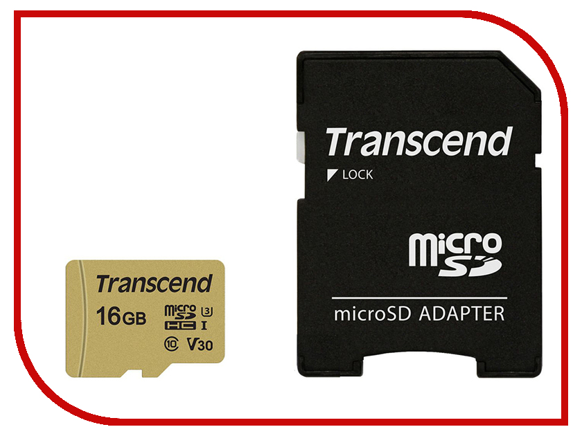Карта памяти 16Gb - Transcend - Micro Secure Digital HC UHS-I U3 Class 10 TS16GUSD500S с переходником под SD secure digital memory card capacity 16gb sd card 16g