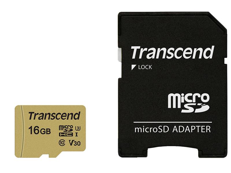 Карта памяти 16Gb - Transcend Micro Secure Digital HC UHS-I U3 Class 10 TS16GUSD500S с переходником под SD