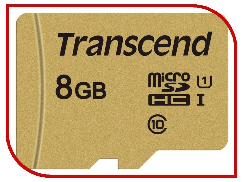 Карта памяти 8Gb - Transcend - Micro Secure Digital HC UHS-I U3 Class 10 TS8GUSD500S с переходником под SD карта памяти 32gb sony micro sdhc uhs 1 u3 class 10 sr32ux2at с переходником под sd