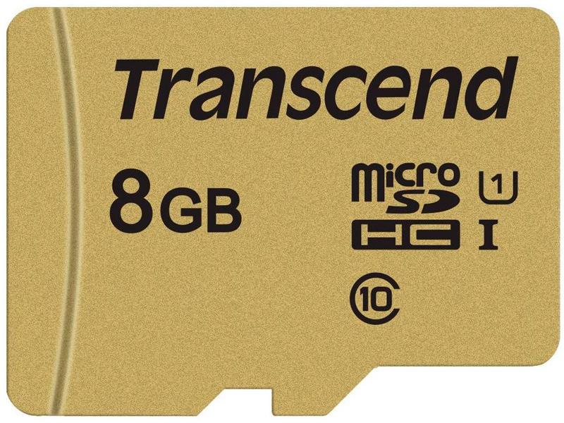 Карта памяти 8Gb - Transcend Micro Secure Digital HC UHS-I U3 Class 10 TS8GUSD500S с переходником под SD