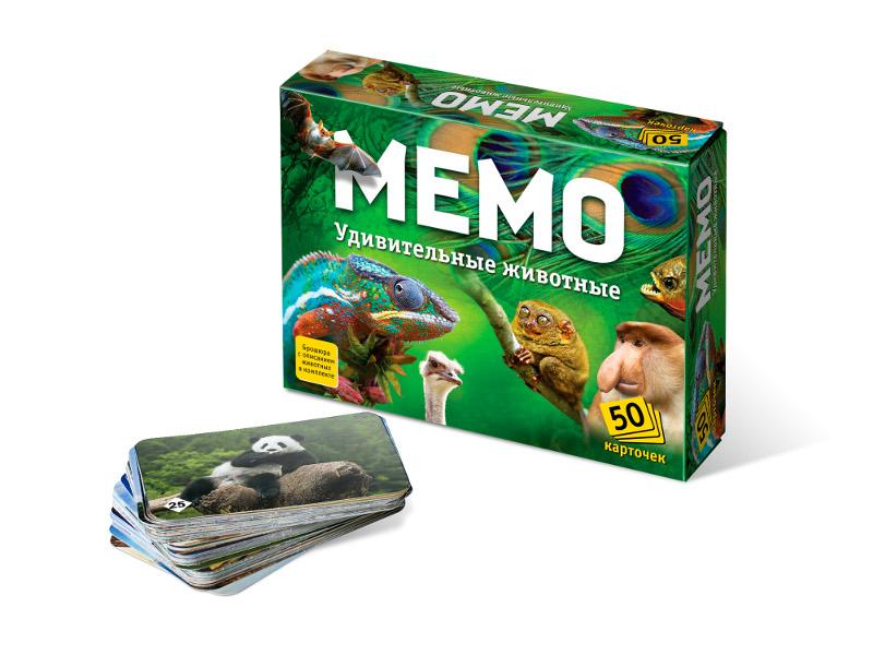 Настольная игра Нескучные игры Мемо Удивительные животные 7207