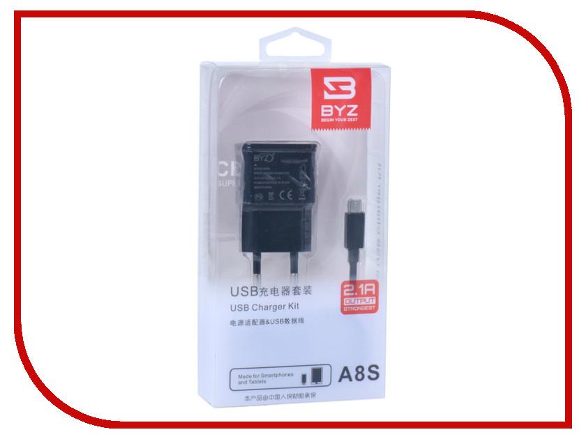 Зарядное устройство BYZ A8s с кабелем MicroUSB Black byz ys 001 green