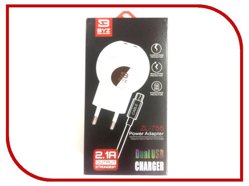 Зарядное устройство BYZ ZL-755 с кабелем MicroUSB White термометр laguna zl 15см тонкий блистер