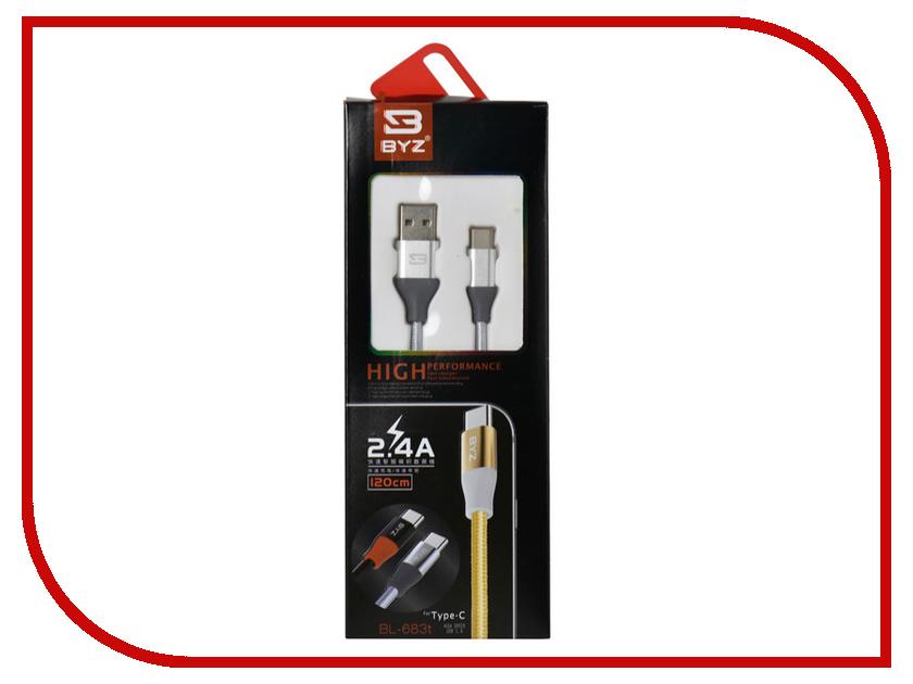 Аксессуар BYZ BL-683 USB - Type-C Grey аксессуар byz bl 629 usb microusb white