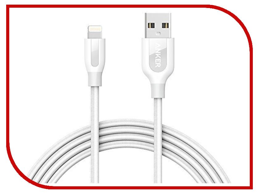 Аксессуар Anker PowerLine+ USB-Lightning 0.9m White A8121H22 кабель для apple lightning mfi anker powerline 0 9м в оплетке кевлар 6000 перегибов a8121h22 белый