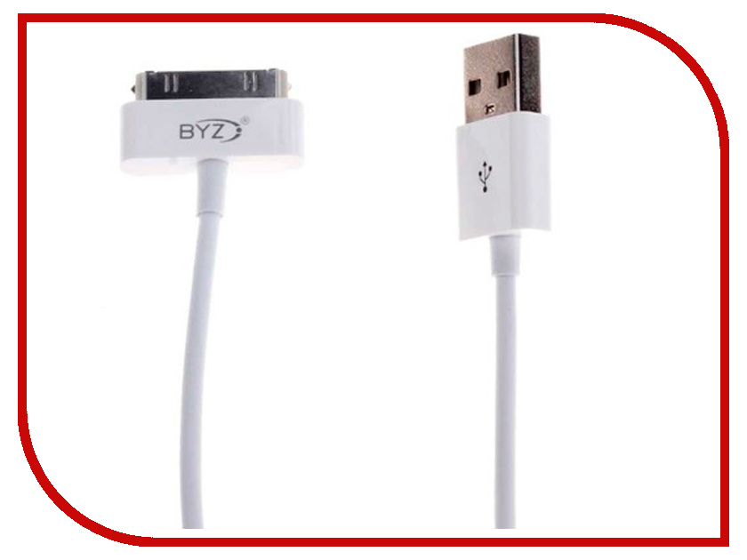 Аксессуар BYZ BL-602 USB - 30-pin White аксессуар byz bc 001 usb lightning grey