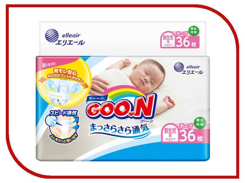 Подгузники Goo.N NB Mega Pack 0-5кг 36шт 4902011743074