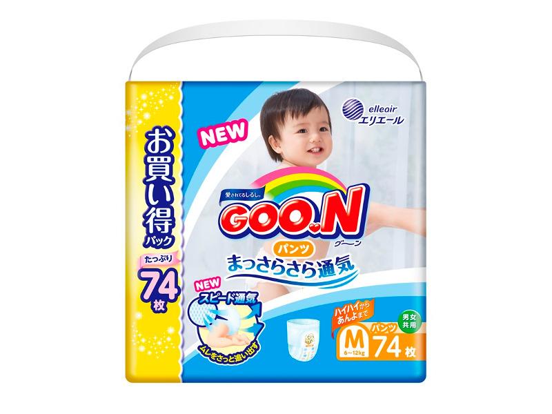 Подгузники Goo.N Ultra Jumbo Pack Трусики 6-12кг М 74шт 4902011855067