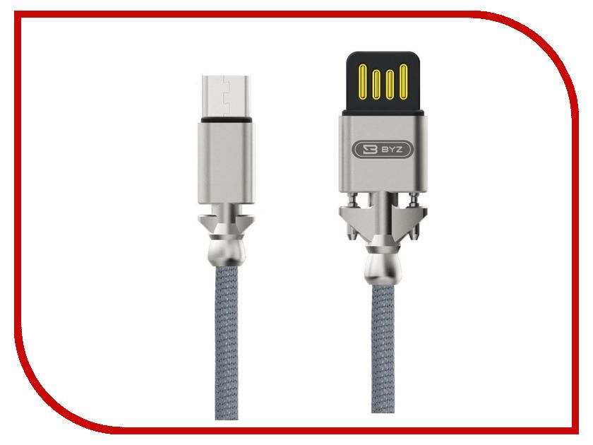 Аксессуар BYZ BL-698 USB - MicroUSB Silver аксессуар byz bl 629 usb microusb white