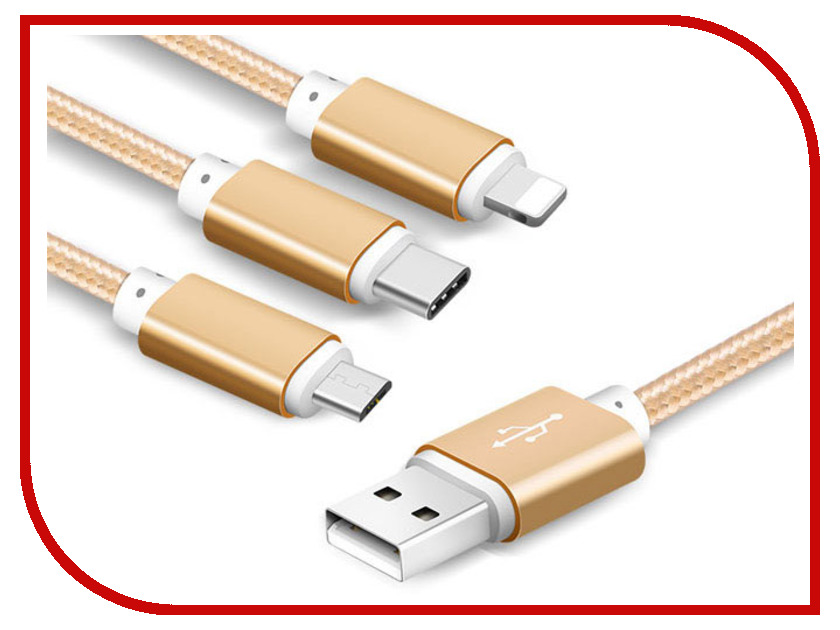 Аксессуар BYZ BL-639 3в1 USB - Lightning/MicroUSB/Type-C Gold аксессуар xo 3в1 usb lightning microusb type c pink nb10
