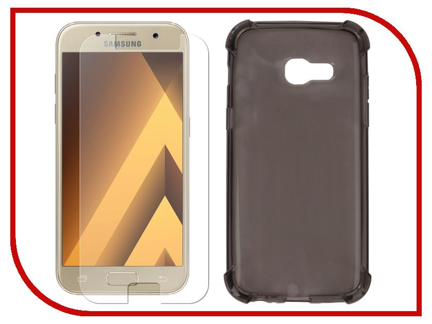 Аксессуар Чехол + защитное стекло для Samsung Galaxy A5 2017 Innovation Silicone Black 11791 аксессуар чехол samsung j3 2017 j330f zibelino clear view black zcv sam j330 blk