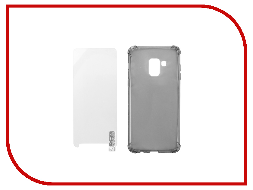 Аксессуар Чехол + защитное стекло для Samsung Galaxy A5 2018 Innovation Silicone Black 11788 аксессуар чехол для samsung galaxy a5 2017 onext silicone transparent 70513
