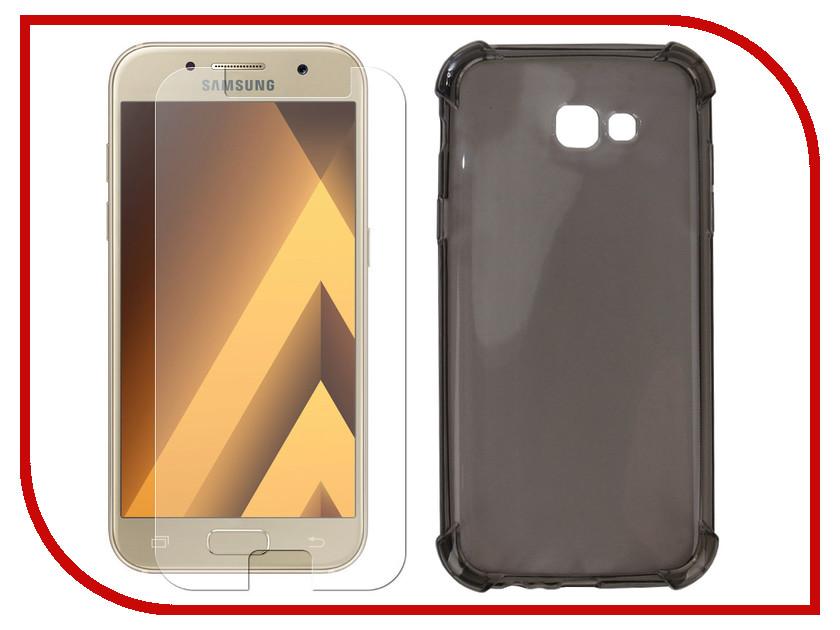 Аксессуар Чехол + защитное стекло для Samsung Galaxy A7 2017 Innovation Silicone Black 11793 аксессуар чехол для samsung galaxy a5 2017 innovation silicone black 12205