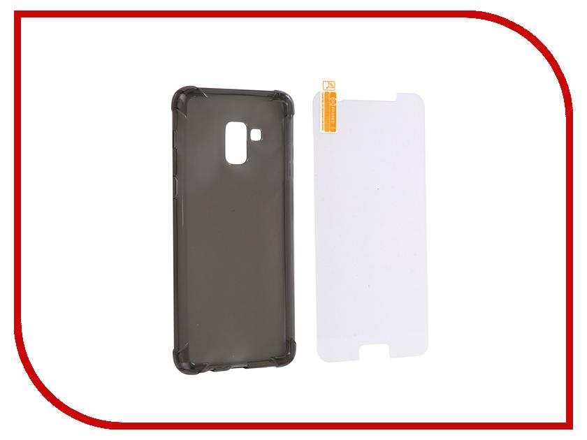 Аксессуар Чехол + защитное стекло для Samsung Galaxy A8 Plus 2018 Innovation Silicone Black 11789 цена и фото