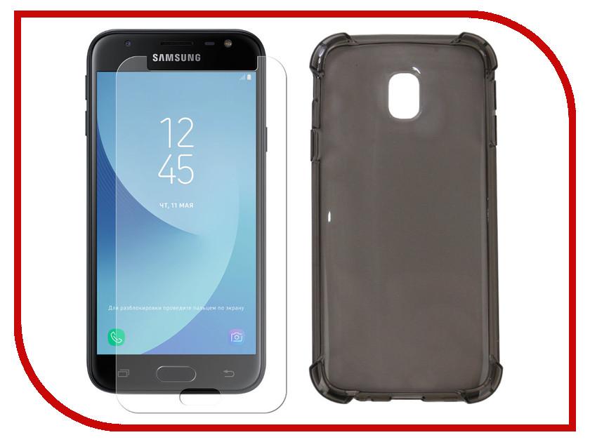Аксессуар Чехол + защитное стекло для Samsung Galaxy J3 2017 Innovation Silicone Black 11795 аксессуар чехол для samsung galaxy a5 2017 innovation silicone black 12205