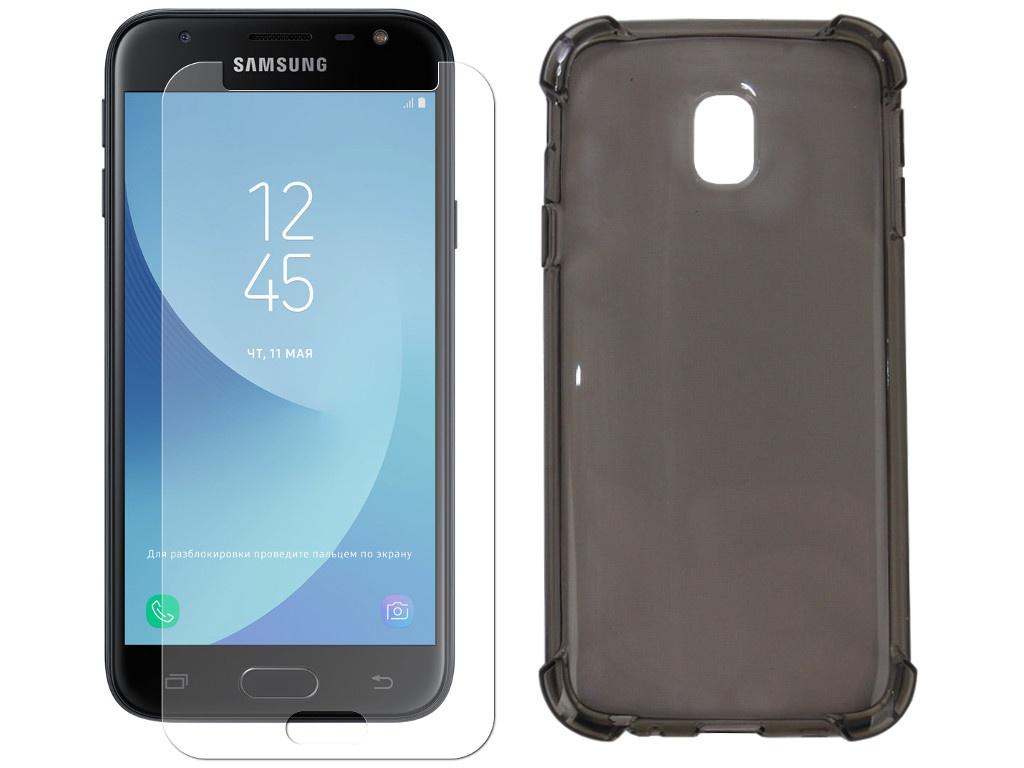 Аксессуар Чехол + защитное стекло Innovation для Samsung Galaxy J3 2017 Silicone Black 11795 лента fit 11795