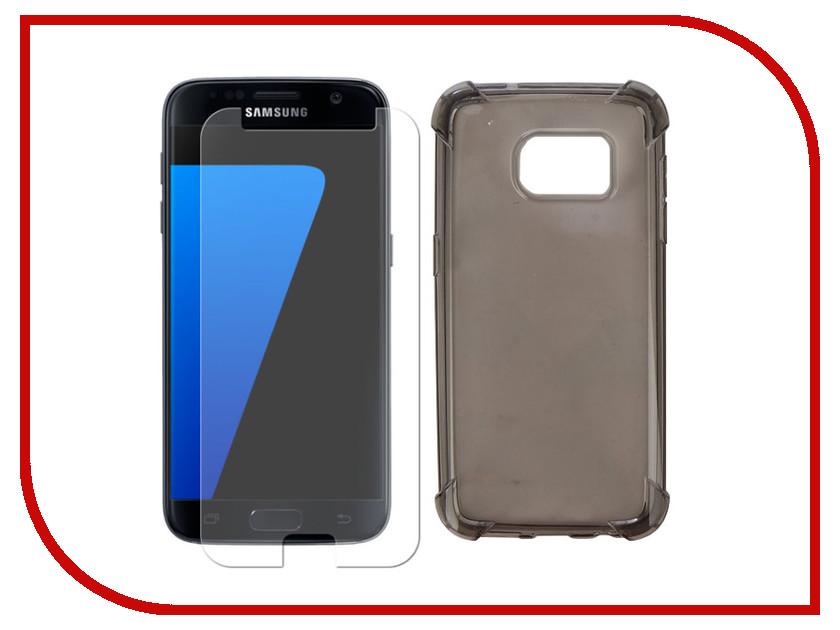 Аксессуар Чехол + защитное стекло для Samsung Galaxy S7 Innovation Silicone Black 11784 аксессуар чехол для samsung galaxy a5 2017 innovation book silicone red 12147