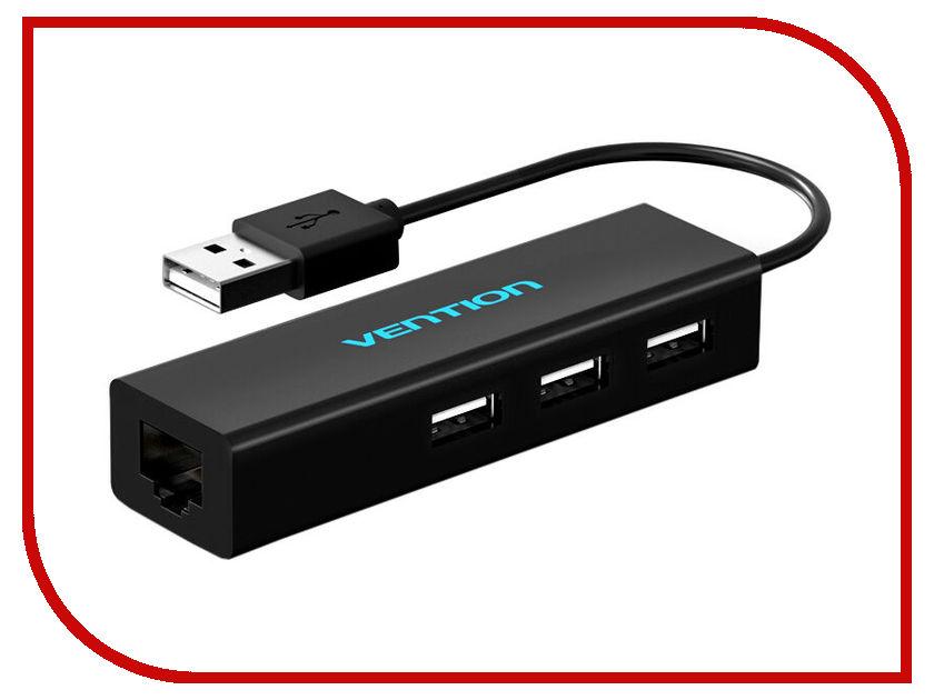Сетевая карта Сетевой адаптер Vention USB 2.0 M - Ethernet RJ45 F+OTG 3 x port VAS-J37-B-N
