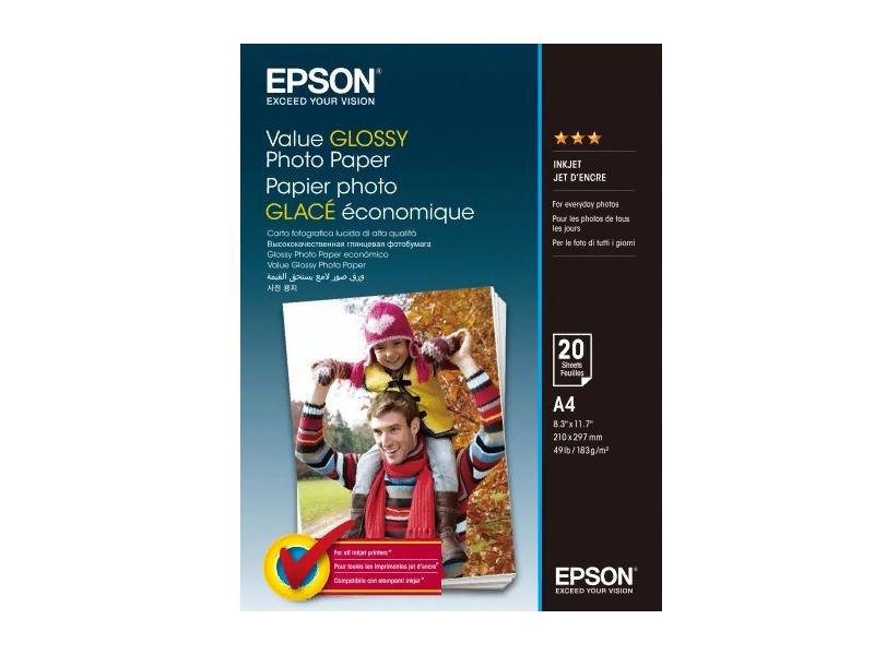 Фотобумага Epson Value Glossy Photo Paper A4 183g/m2 20 листов C13S400035 цена