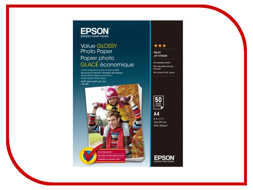 Фотобумага Epson Value Glossy Photo Paper A4 183g/m2 50 листов C13S400036 фотобумага epson a4 double sided matte paper 50 л c13s041569