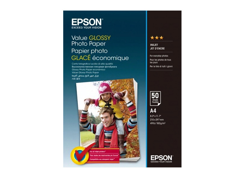 Фотобумага Epson Value Glossy Photo Paper A4 183g/m2 50 листов C13S400036