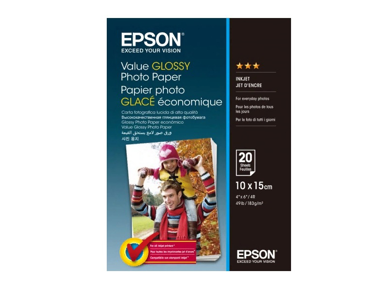 Фотобумага Epson Value Glossy Photo Paper 183g/m2 10x15cm 20 листов C13S400037