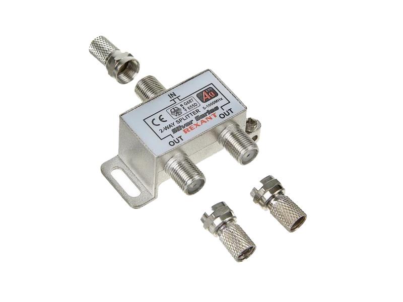 Делитель антенный Rexant F-типа на 2 TV + F-разъемы 06-0045-B цены