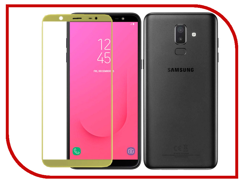 Аксессуар Защитное стекло для Samsung Galaxy J8 2018 Red Line Full Screen Tempered Glass Gold for lenovo zuk z2 lcd screen display with touch screen digitizer panel glass assembly black white replacement parts free shipping