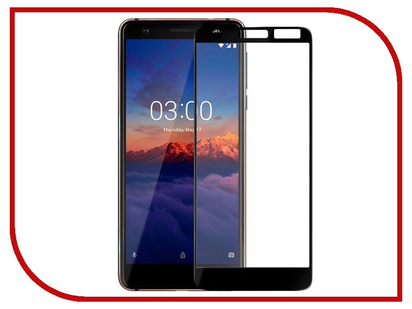 Аксессуар Защитное стекло для Nokia 3.1 Red Line Full Screen Tempered Glass Black 110db loud security alarm siren horn speaker buzzer black red dc 6 16v