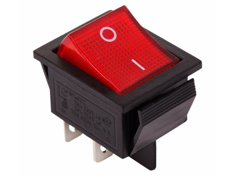 Выключатель Rexant 250V 16A (4c) Red 06-0303-B