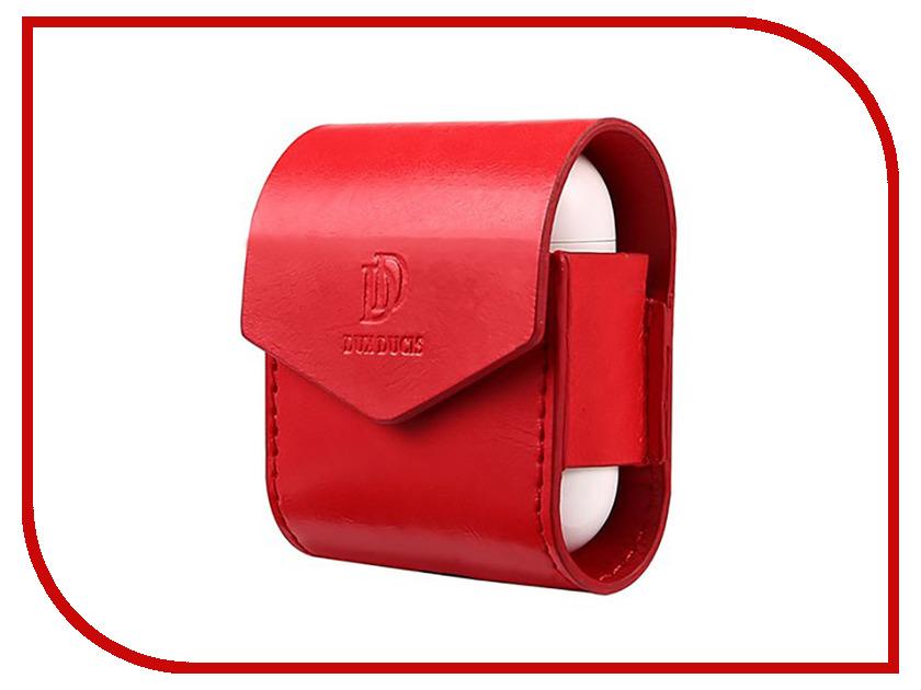 Аксессуар Чехол Dux Ducis Leather для APPLE Airpods Premium Red аксессуар чехол dux ducis leather для apple airpods premium black 906252