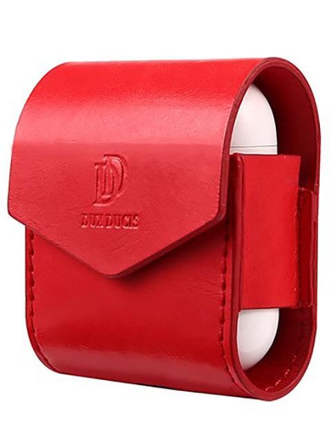 Чехол Dux Ducis Leather для APPLE Airpods Premium Red
