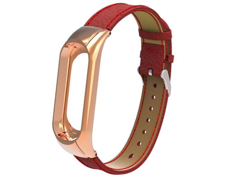 Aксессуар Ремешок Apres для Xiaomi Mi Band 3 Leather Strap Red