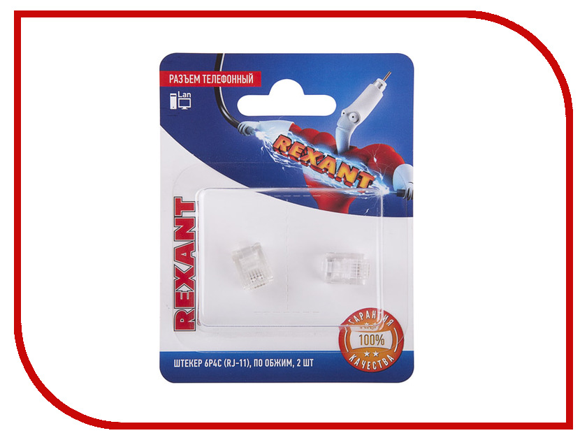 Разъем телефонный Rexant RJ-11 6P4C 2шт 06-0080-A2 сетевой кабель rexant rj 11 6p4c 15m white 18 3151