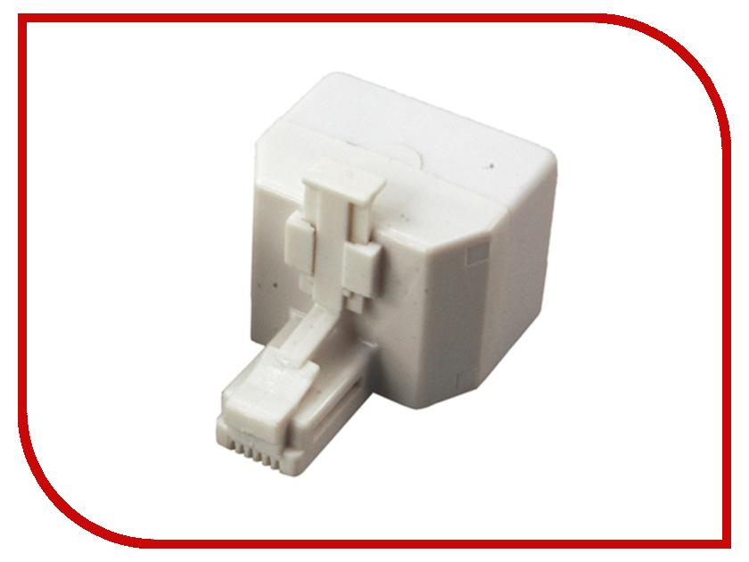 Переходник телефонный Rexant RJ-11 6P4C - 2x 6P4C 06-0109-B сетевой кабель rexant rj 11 6p4c 15m white 18 3151