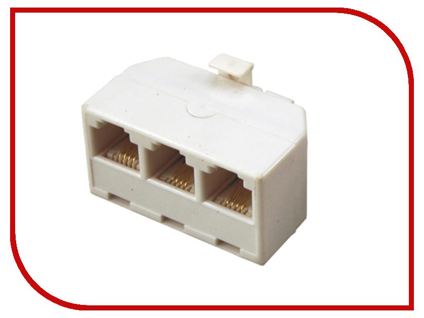 Переходник телефонный Rexant RJ-11 6P4C - 3x 6P4C 06-0110-B аксессуар rexant rj 11 6p4c 7m white 18 3071