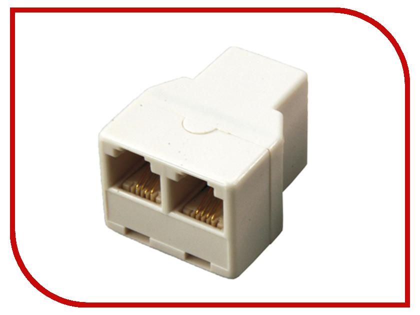 Переходник телефонный Rexant RJ-11 6P4C - 2x 6P4C 06-0108-B аксессуар rexant rj 11 6p4c 7m white 18 3071