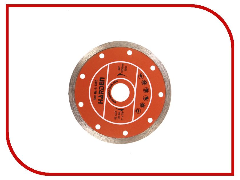 Диск HARDEN 611312 алмазный отрезной сплошной 125 х 22.2mm влажная резка