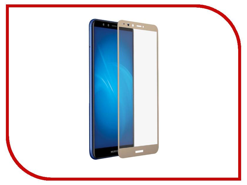 Аксессуар Закаленное стекло для Huawei Y9 2018 / Y9 Prime 2018 DF Full Screen hwColor-48 Gold shs красный huawei y9 2018
