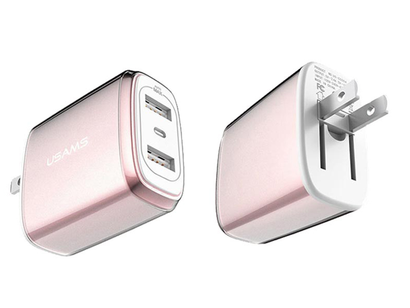 цены Зарядное устройство USAMS US-CC004 U2 Plus Dual USB Rose Gold