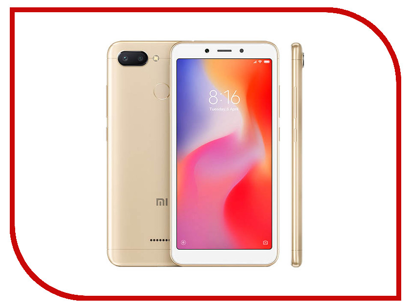 Сотовый телефон Xiaomi Redmi 6 3/32GB Gold сотовый телефон xiaomi redmi note 5a prime 3gb ram 32gb grey