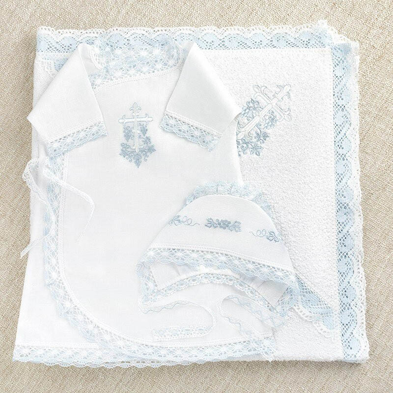 Крестильный набор Krestilnoe Комплект Голубая лоза с полотенцем 62 0-3 мес. арт.НКМп-Гл-62 цены онлайн