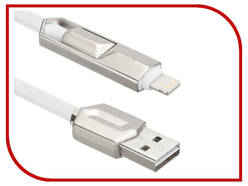 Аксессуар ACD Dual 2в1 Lightning/MicroUSB - USB A TPE 1.0m White ACD-U924-PMW аксессуар budi usb microusb lightning m8j175 1m silver