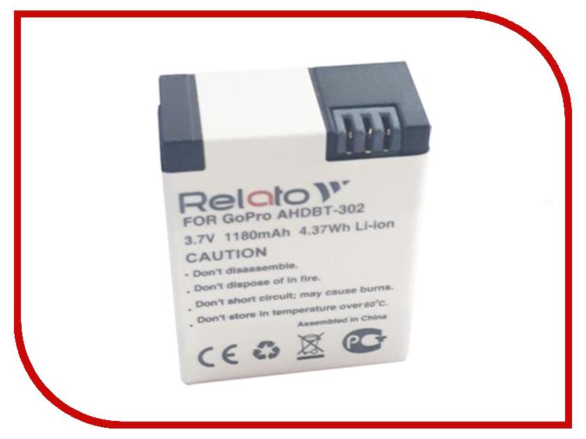 Аксессуар Аккумулятор Relato AHDBT-302 для GoPro ahdbt 401 replacement 3 8v 1160mah li ion battery for digital camera gopro hero 4 black grey