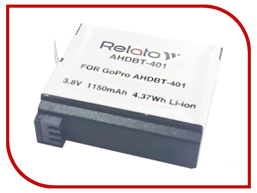 Аксессуар Аккумулятор Relato AHDBT-401 для GoPro ahdbt 401 replacement 3 8v 1160mah li ion battery for digital camera gopro hero 4 black grey